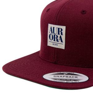 AURORA Serif Snapback Cap - bordeaux