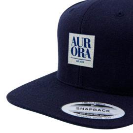 AURORA Serif Snapback Cap - navy